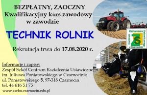 Informacja o kwalifikacyjnym kursie zawodowym w zawodzie technik rolnik