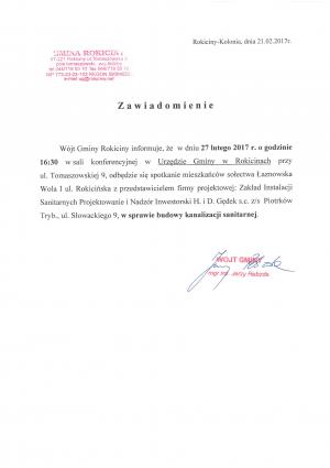 Informacja dla mieszkańców Łaznowskiej Woli dotycząca spotkania w Urzędzie Gminy w sprawie budowy kanalizacji