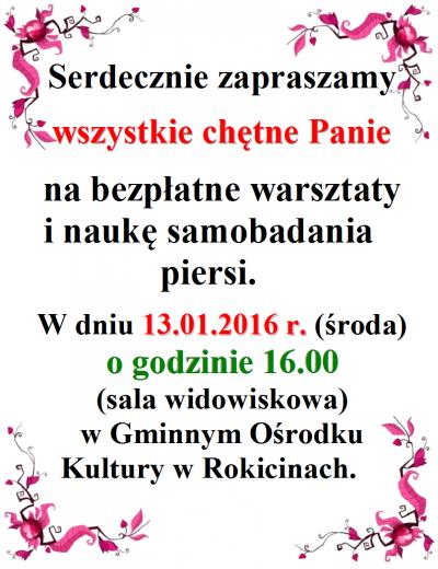 Mamografia w dniu 13.01.2015 w GOK