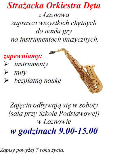 Strażacka Orkiestra Dęta z Łaznowa zaprasza wszystkich chętnych do nauki gry na instrumentach muzycznych