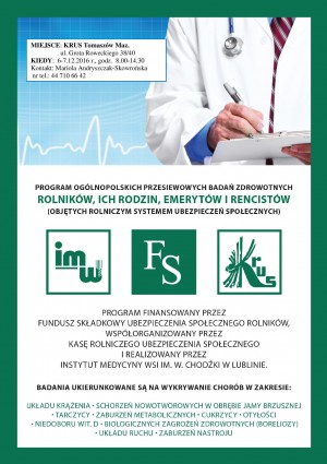 Zaproszenie do wzięcia udziału w programie ogólnopolskich przesiewowych badań zdrowotnych rolników, ich rodzin i emerytów