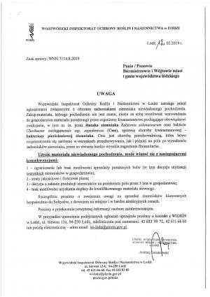 Informacja o możliwości wystąpienia zagrożenia fitosanitarnego na terenie woj. łódzkiego