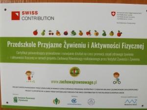 Certyfikat Przedszkole Przyjazne Żywieniu i Aktywności Fizycznej