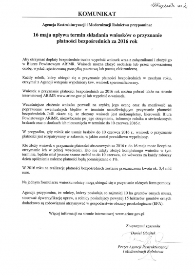 16 maja upływa termin składania wniosków o przyznanie płatności bezpośrednich za 2016 rok