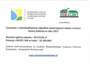 Usuwanie i unieszkodliwianie odpadów zawierających azbest z terenu Gminy Rokiciny w roku 2017
