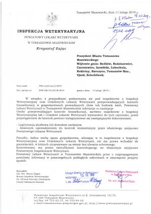 Informacja Powiatowego Lekarza Weterynarii w Tomaszowie Mazowieckim