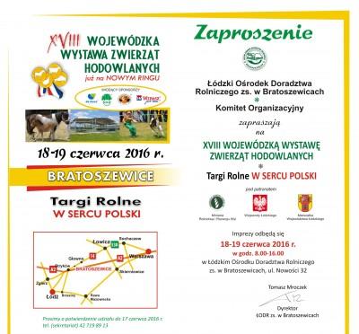 Zaproszenie na XVIII Wojewódzką Wystawę Zwierząt Hodowlanych Targi Rolne w Sercu Polski