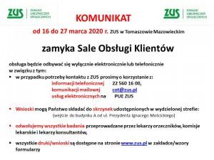 Komunikat ZUS w Tomaszowie Maz.