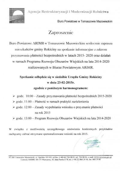 Zaproszenie na spotkanie informacyjne z zakresu przyznawania płatności bezpośrednich w latach 2015-2020