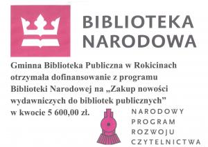 Dofinansowanie dla Bibliotek na terenie Gminy Rokiciny