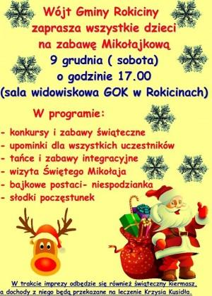Zaproszenie na zabawę Mikołajkową