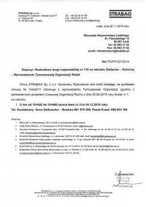 Wdrożenie tymczasowej organizacji ruchu na drodze wojewódzkiej nr 716 na odcinku Stefanów - Rokiciny