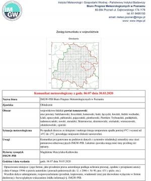 Komunikat meteorologiczny z godz. 06:07 dnia 30.03.2020