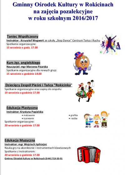 Zajęcia pozalekcyjne w GOK w roku szkolnym 2016/2017