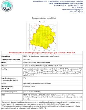 Zmiana ostrzeżenia meteorologicznego Nr 23