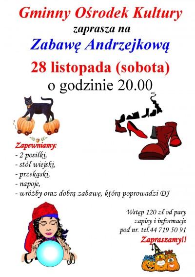 Gminny Ośrodek Kultury zaprasza na Zabawę Andrzejkową w dniu 28 listopada 2015 r.
