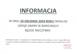 W dniu 24 grudnia 2020 roku (wigilia) Urząd Gminy w Rokicinach będzie nieczynny