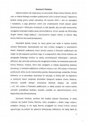 Informacja Wójta odczytana na sesji Rady Gminy Rokiciny w dniu 29 listopada 2016 r.