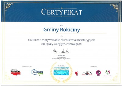 Certyfikat dla Gminy Rokiciny: Skuteczne motywowanie dłużników alimentacyjnych