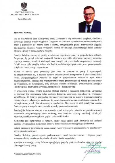 List prezesa KRUS