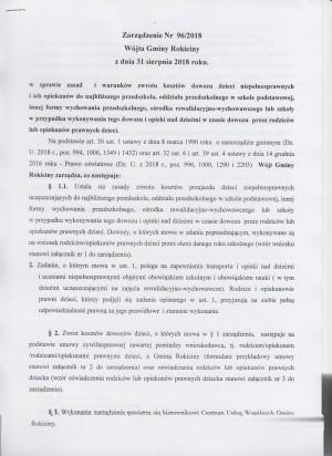 ZARZĄDZENIE 96/2018 ws. zasad zwrotu kosztów dowozu dzieci niepełnosprawnych
