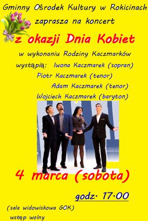 Zaproszenie na koncert z okazji dnia kobiet
