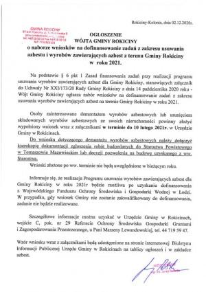 Ogłoszenie o naborze wniosków na dofinansowanie zadań z zakresu usuwania azbestu i wyrobów zawierających azbest