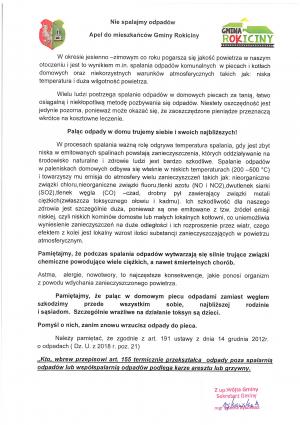Apel do mieszkańców Gminy Rokiciny w sprawie spalanie odpadów.
