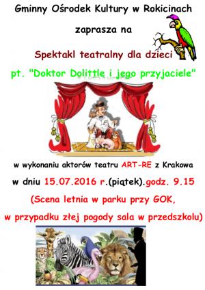 Spektakl teatralny dla dzieci pt. Doktor Dolittle i jego przyjeciele