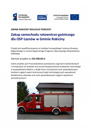 Zakup lekkiego samochodu ratowniczo-gaśniczego dla OSP ŁAZNÓW