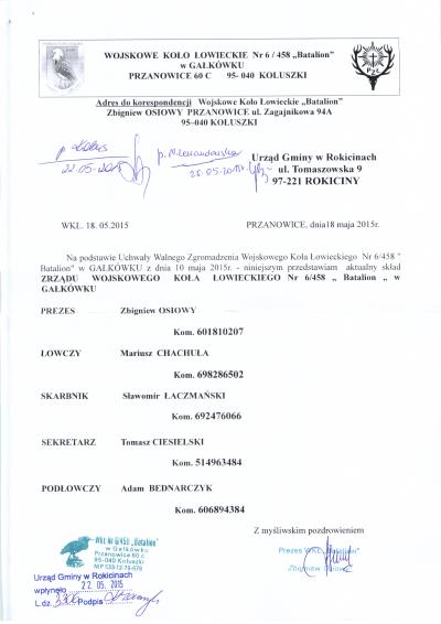 Skład Zarządu Wojskowego Koła Łowieckiego nr 6/458 Batalion