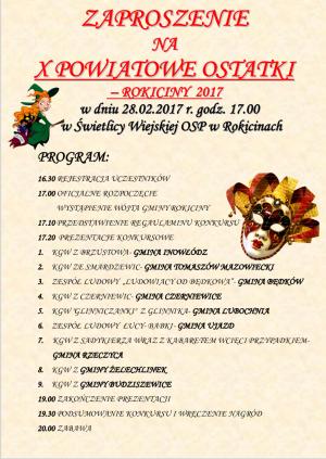 Zaproszenie na X Powiatowe Ostatki w Świetlicy Wiejskiej OSP w Rokicinach