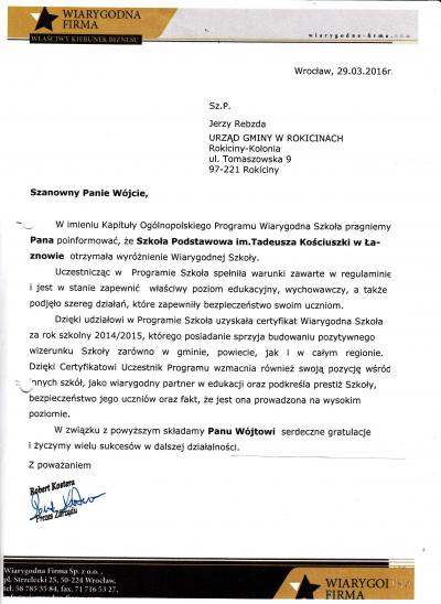 Szkoła Podstawowa w Łaznowie otrzymała wyróżnienie Wiarygodnej Szkoły