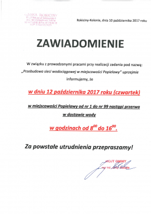 Zawiadomienie o przerwach w dostawie wody w dniu 12 października w miejscowości Popielawy