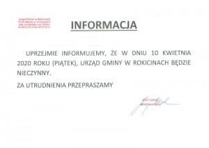 10.04.2020 (piątek) - Urząd Gminy w Rokicinach będzie nieczynny