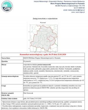 Komunikat meteorologiczny z godz. 06:35 dnia 23.03.2020