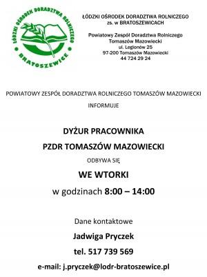 Informacja o dyżurze pracownika -  PZDR