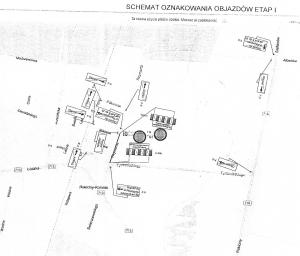 Plan objazdów w związku z przebudową drogi nr 4318E Kolonia Rokiciny - Stefanów - Łaznówek - Kolonia Rokiciny ul. Reymonta