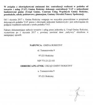 Informacja w sprawie zmiany oznaczania faktur wystawionych dla Gminy Rokiciny i jednostek podległych