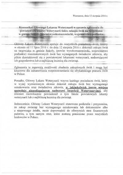 Komunikat Głównego Lekarza Weterynarii z dnia 12 sierpnia br.,w sprawie zgłaszania do powiatowych lekarzy weterynarii faktu zaku