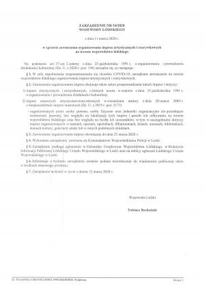 Zarządzenie nr 54/2020