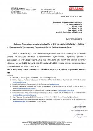 Całkowite zamknięcie drogi wojewódzkiej  nr 716 na odcinku Stefanów - Rokiciny w związku z remontem