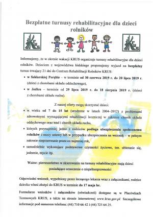 Bezpłatne turnusy rehabilitacyjne dla dzieci rolników