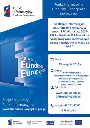 Zapraszamy na spotkanie informacyjne dot. Aktualnych konkursów w ramach RPO na lata 2014-2020