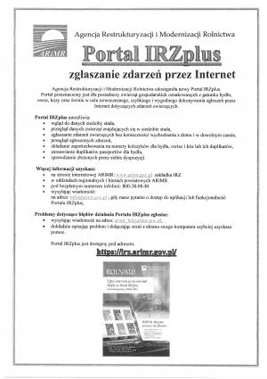 Portal IRZplus - portal do zarządzania zdarzeniami dla rolników posiadających zwierzęta