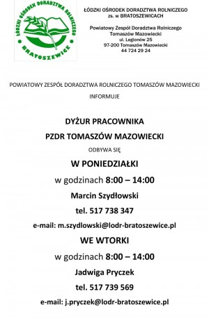Informacje o dyżurach pracowników PZDR Tomaszów Mazowiecki