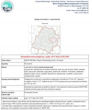 Komunikat meteorologiczny z godz. 10:17 dnia 24.03.2020