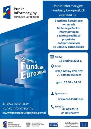Bezpłatne konsultacje w ramach Mobilnego Punktu Informacyjnego z zakresu realizacji projektó dofinansowanych z Funduszu Europejs