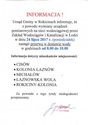 Wyłączenia wody na terenie gminy Rokiciny