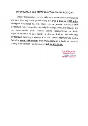 Informacja w sprawie przedłużenia terminu składania wniosków o przyłączenia do sieci gazowej